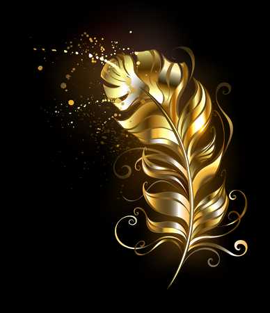 authors: Fluffy feather of shiny gold on a black background.
