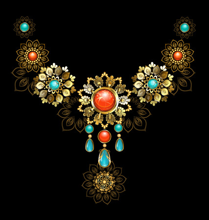 jasper: Jewelry gold jewelry made in oriental style, decorated with turquoise and red jasper on a dark background.