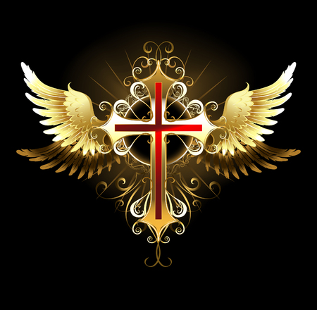 symbolic cross: Gold, patterned, cross jewelry with gold wings . Gothick style.