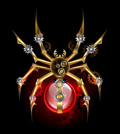 Mechaniczny, steampunkowy pająk ze złotymi, mosiężnymi zębatkami i czerwoną lampą szklaną. Styl steampunkowy.