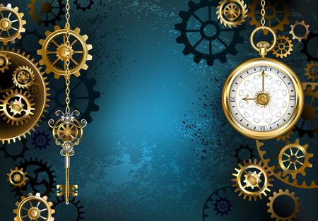 Türkis, strukturiert, Steampunk-Hintergrund mit Messing und Gold Getriebe, einem silbernen Schlüssel und die Uhr. Steampunk-Stil.