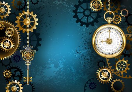 Turquoise, textured, steampunk background with brass and gold gears, a silver key and the clock. Steampunk style. 版權商用圖片 - 68888926