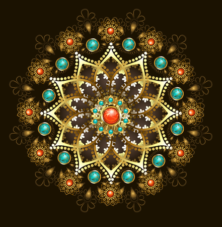 gems: Gold jewelery mandala, decorated with turquoise and jasper on a black background. Jewelry Design.  Oriental pattern. Boho Style.