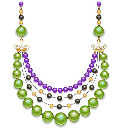 fashion jewelry: Necklace of green, black and purple fashion beads on a white background. Trendy Greenery. Design jewelry.
