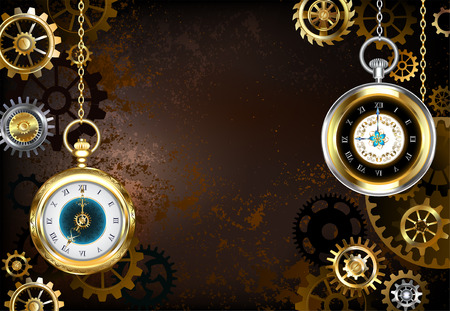 Brown, rusty, textured, stimpankovsky background with brass and gold gears with antique gold watch. Steampunk style.
