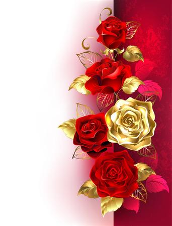 Design con rose rosse e oro su uno sfondo bianco e rosso. Progettare con rose. Vettoriali