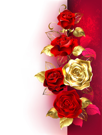 Design with red and gold roses on a white and red background. Design with roses. Иллюстрация