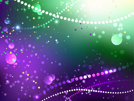 Bright purple and green background with shiny confetti. Festival Mardi Gras.