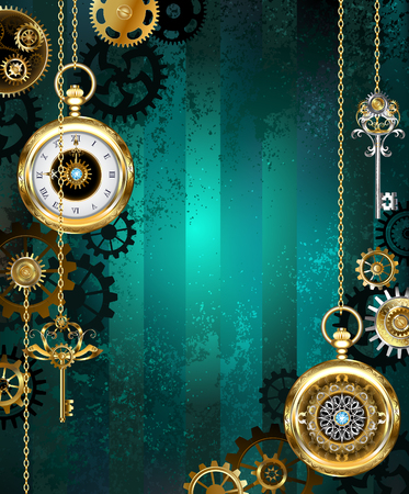 Jewelry, gold watch with a gold chain and keys on a green textural background. Steampunk style.