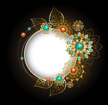 Round, jewelry banner decorated with jewelery, gold and bronze ornaments in ethnic style with turquoise and jasper, on a dark background. Jewelery in boho style.