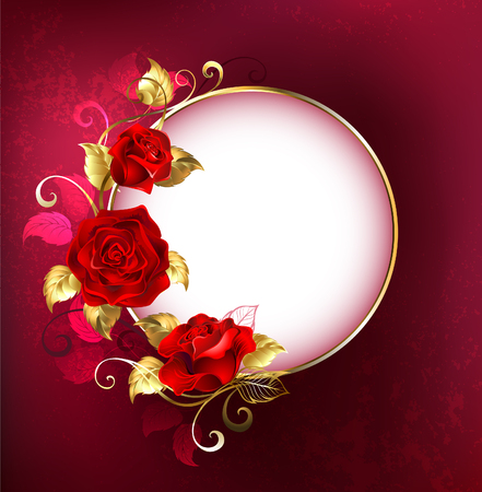 plated: Round white banner with red roses and golden leaves on red textural background. Design with red roses.
