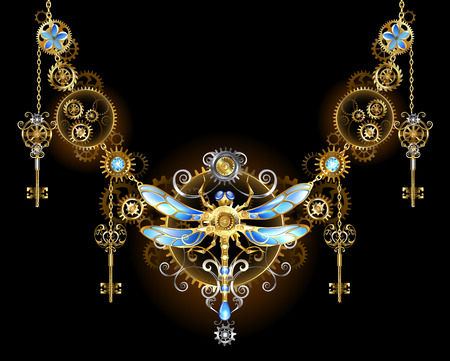 Symmetric ornament with Golden gears, keys and mechanical dragonfly on a black background.  Steampunk style.