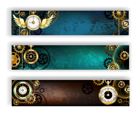 Three banner adorned with gold jewelry watches, gold and bronze gears on a turquoise and brown background. Steampunk style.