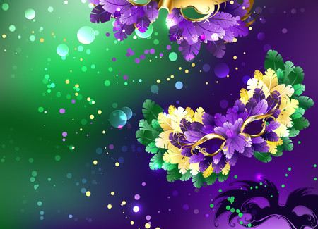Bright purple and green background with a candy cane decorated with fluffy masks. Festival Mardi Gras.