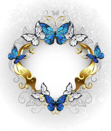 jewelry design: Jewelry, gold, patterned banner with blue and white butterflies morpho on a light  textural background. Morpho. Design with blue butterflies morpho.