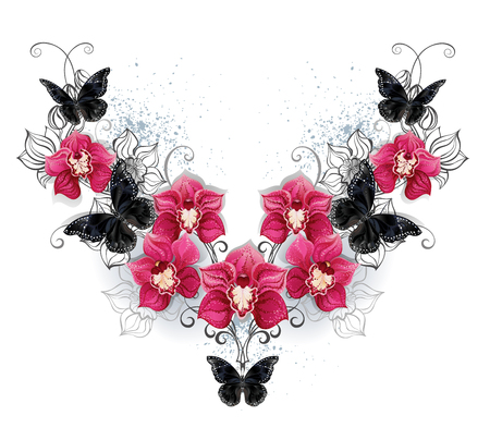 flores exoticas: Symmetric pattern of black butterflies and pink orchids on a white background. Design with orchids. Black butterfly Foto de archivo