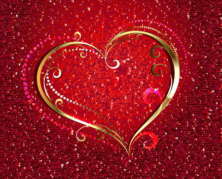plated: Gold, jewelry heart on a red velvety background. Valentines Day.