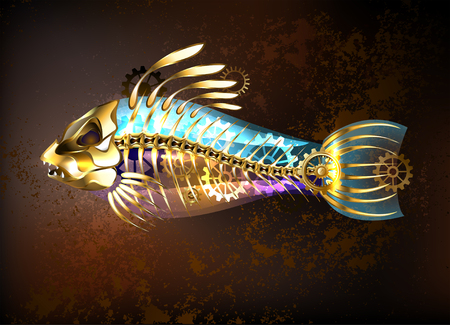 Mechanical, antique gold fish with skeleton and gears on a brown background. Steampunk style.