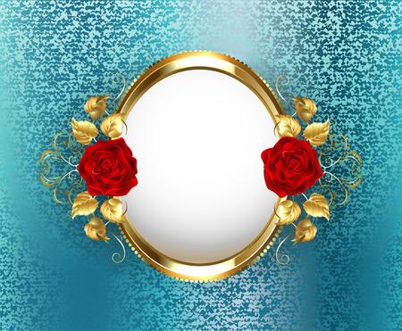 azul turqueza: marco oval del oro con rosas rojas sobre fondo azul turquesa, brocado. Diseño con las rosas. Vectores