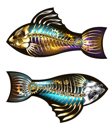 Two mechanical fish with skeleton and gold gears on a white background. Steampunk style. Illustration