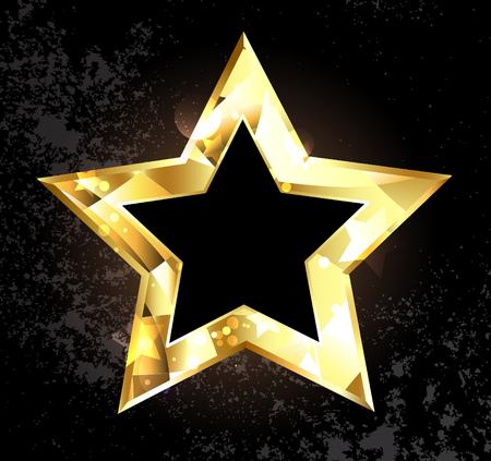 stardom: Gold, glittering, polygonal star on a black background. Design with gold stars.