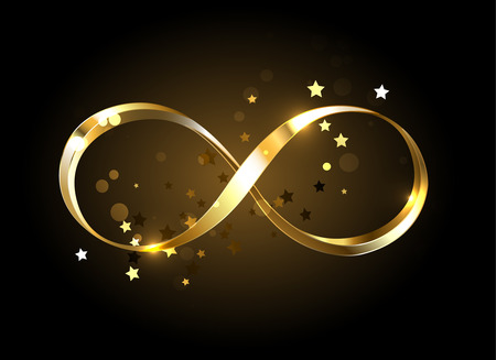 Gold, jewelry infinity symbol with gold stars on a black background. Design with gold  star.