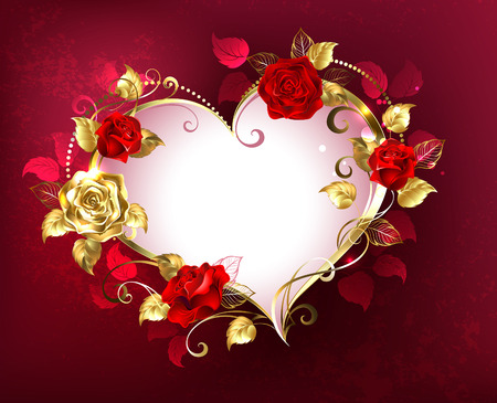 Heart with jewels, gold and red roses on red textural background. Design with roses. Valentine's Day. Иллюстрация