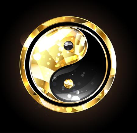Jewelry, gold and black yin yang symbol on a black background. Gold yin yang.