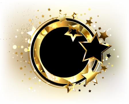 premios: Bandera redonda, negra con el marco poligonal del oro, adornada con las estrellas del oro y del negro en un fondo ligero. Diseño con estrellas doradas.