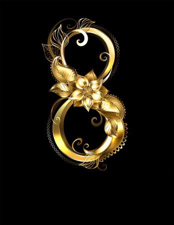 Eight of gold, jewelry flowers and leaves on a black background. Design with golden flowers. Illustration