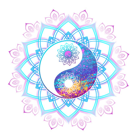 Yin yang symbol painted bright pastel paint a mandala on a white background. Yin yang symbol. Oriental pattern. Boho Style.
