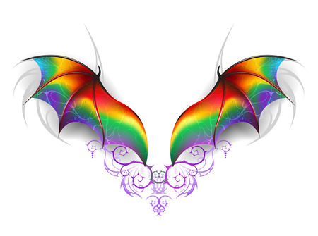 art background: Beautiful, rainbow wings of a fairy dragon on a white background. Wings of a rainbow dragon. Illustration