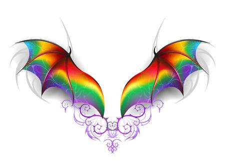 Hermosas alas de arco iris de un dragón de hadas sobre un fondo blanco. Alas de un dragón del arco iris. Ilustración de vector