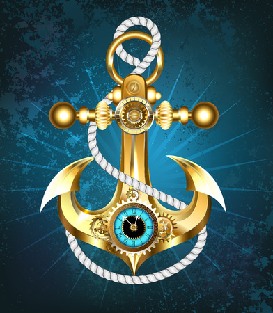 Gold anchor with a white rope and clock on a turquoise background. Steampunk. Gold anchor.