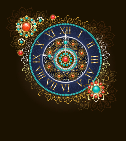 Round jewelry clock, decorated with beads and semiprecious stones in ethnic style. Boho Style. Ethnic pattern. Antique clock. Illustration