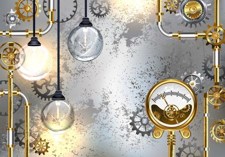 Fondo gris industrial con el instrumento de medida antiguo y bulbos eléctricos redondos. Diseño con engranajes. Estilo Steampunk Diseño industrial. Ilustración de vector