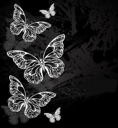morpho: Painted white chalk composition of several morpho butterflies on a black chalkboard. Design with butterflies. Drawing with chalk. Butterfly morpho.