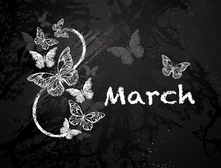 morpho: Figure eight eight with butterflies, painted black with white chalk on a blackboard. Festival March 8. Womens holiday.