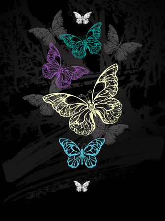 morpho: Flock of colorful butterflies morpho drawn with chalk on black chalkboard. Design with butterflies. Drawing with chalk. Butterfly morpho. Illustration