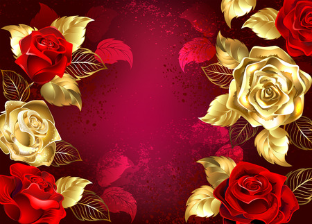 Red textured background with jewelry, red and gold roses. Design with roses Vectores