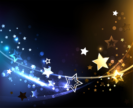 Space, abstract background with small, contrasting, glowing golden and blue stars. Design with stars. Space background.