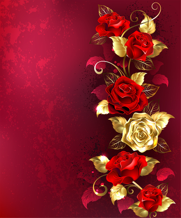 Vertical composition of red and gold jewelry roses with gold leaves on a red textured background. Design with gold roses. Illustration