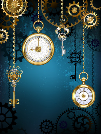 Design with gold antique clocks, keys and brass gears on a turquoise background. Steampunk style.