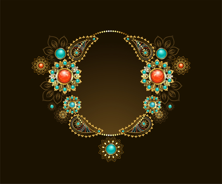 Frame with ethnic gold jewellery inlaid with turquoise and red jasper on a dark background.