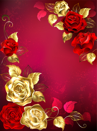 Greeting card with red and gold jewellery roses with gold leafs on a red textured background. Design with gold roses. Illustration