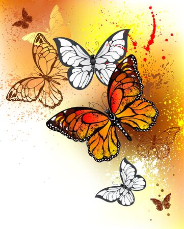 morpho: Bright orange butterflies monarchs on the background, painted with bright yellow and orange watercolor paint.  Monarch butterfly. Design with butterflies. Bright watercolor paint. Illustration