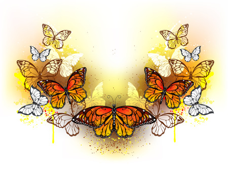 Symmetrical pattern of butterflies monarchs and bright spots of orange watercolor on a white background. Monarch butterfly. Design with butterflies. Bright watercolor paint.