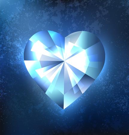 Polygonal heart blue, transparent, glistening ice on a dark blue background. Ice design.