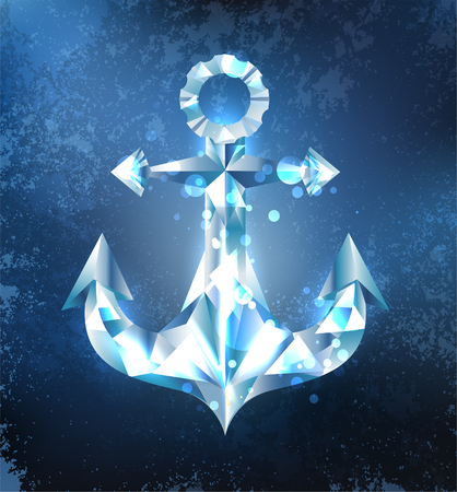 moor: Anchor from a sparkling, blue, transparent ice on a dark blue background. The Northern Fleet. Design of ice.