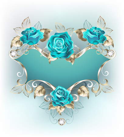 Blue patterned banner with a patterned frame of white gold, decorated with turquoise jewelry roses. Fashionable color. Turquoise rose.
